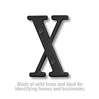 Salsbury 1240BLK-X 3 Inch Solid Brass Letter Black Finish X