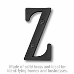 Salsbury 1240BLK-Z 3 Inch Solid Brass Letter Black Finish Z