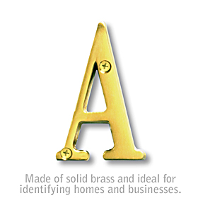 Salsbury 1240B-A 3 Inch Solid Brass Letter Brass Finish A