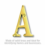 3 Inch Solid Brass Letter Brass Finish A