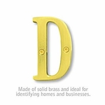 3 Inch Solid Brass Letter Brass Finish D