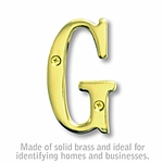 3 Inch Solid Brass Letter Brass Finish G