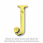 3 Inch Solid Brass Letter Brass Finish J