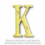 3 Inch Solid Brass Letter Brass Finish K