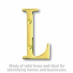 3 Inch Solid Brass Letter Brass Finish L