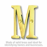 3 Inch Solid Brass Letter Brass Finish M