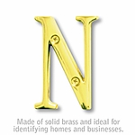 3 Inch Solid Brass Letter Brass Finish N