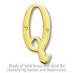 3 Inch Solid Brass Letter Brass Finish Q