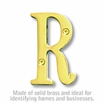 3 Inch Solid Brass Letter Brass Finish R