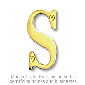 Salsbury 1240B-S 3 Inch Solid Brass Letter Brass Finish S