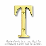 3 Inch Solid Brass Letter Brass Finish T