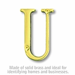 3 Inch Solid Brass Letter Brass Finish U