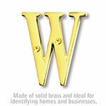 3 Inch Solid Brass Letter Brass Finish W