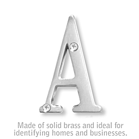 Salsbury 1240C-A 3 Inch Solid Brass Letter Chrome Finish A
