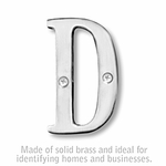 3 Inch Solid Brass Letter Chrome Finish D