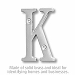 Salsbury 1240C-K 3 Inch Solid Brass Letter Chrome Finish K