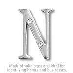 3 Inch Solid Brass Letter Chrome Finish N