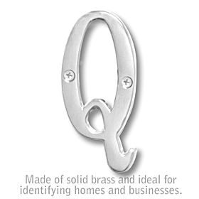 Salsbury 1240C-Q 3 Inch Solid Brass Letter Chrome Finish Q
