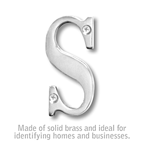 Salsbury 1240C-S 3 Inch Solid Brass Letter Chrome Finish S