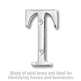 Salsbury 1240C-T 3 Inch Solid Brass Letter Chrome Finish T