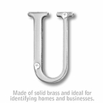 3 Inch Solid Brass Letter Chrome Finish U