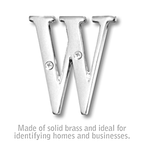Salsbury 1240C-W 3 Inch Solid Brass Letter Chrome Finish W