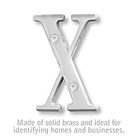 Salsbury 1240C-X 3 Inch Solid Brass Letter Chrome Finish X