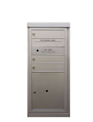 3 Single Height Tenant Doors Front Loading with Parcel Locker Flex-S3P USPS Approved 4C Horizontal Mailboxes