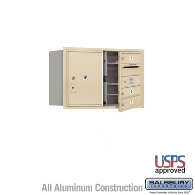 Salsbury 3705D-03SFU 4C Mailboxes 3 Tenant Doors Front Loading