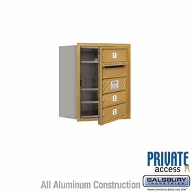 Salsbury 3705S-03GFP 4C Mailboxes 3 Tenant Doors Front Loading