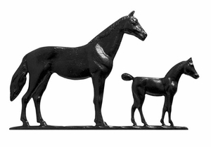 Whitehall 30 in. Traditional Directions HORSE (Mare and Colt) Weathervane in Black for Roof or Garden