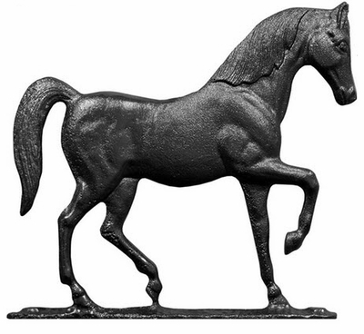 "Whitehall 30"" Traditional Directions HORSE Weathervane in Black for Roof or Garden"