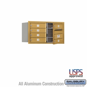 Front Loading 4C Horizontal Mailbox w/ 6 Tenant Doors - USPS Access - Gold