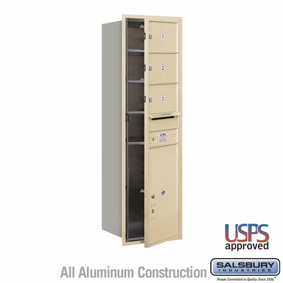 Salsbury 3714S-03SFU 4C Mailboxes 3 Tenant Doors Front Loading