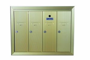 4 Compartment Surface Mount Vertical Mailboxes - Anodized Gold