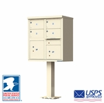 4 Door CBU Mailboxes with Extra Large Tenant Doors Sandstone