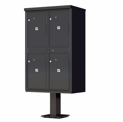 4 Door Parcel Locker Cluster Mailbox - Black