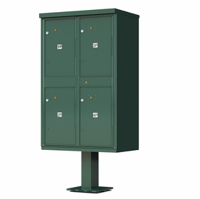 4 Door Parcel Locker Cluster Mailbox - Green