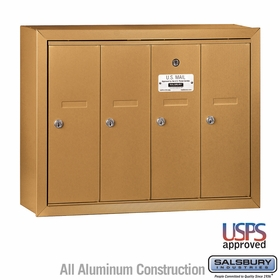 Salsbury 3504BSU 4 Door Vertical Mailbox Brass Finish Surface Mounted USPS Access