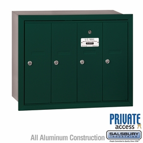 Salsbury 3504GRP 4 Door Vertical Mailbox Green Recessed Mounted Private Access