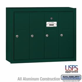 Salsbury 3504GSU 4 Door Vertical Mailbox Green Surface Mounted USPS Access