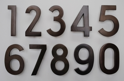 4 Inch Brass Numbers in Bronze