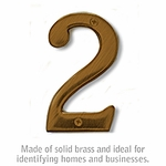 4 Inch Solid Brass Number Antique Finish 2