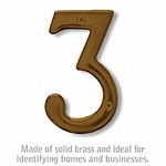 4 Inch Solid Brass Number Antique Finish 3