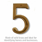 4 Inch Solid Brass Number Antique Finish 5
