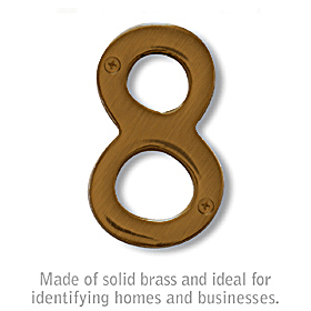 Salsbury 1220A-8 (4 Inch) Solid Brass Number Antique Finish 8