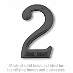 4 Inch Solid Brass Number Black Finish 2