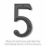 Salsbury 1220BLK-5 (4 Inch) Solid Brass Number Black Finish 5