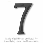 4 Inch Solid Brass Number Black Finish 7