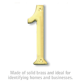Salsbury 1220B-1 (4 Inch) Solid Brass Number Brass Finish 1